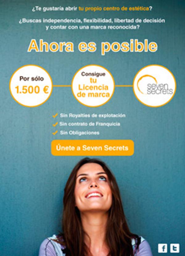 La red de franquicias Seven Secrets ofrece su licencia de marca por sólo 1.500 €
