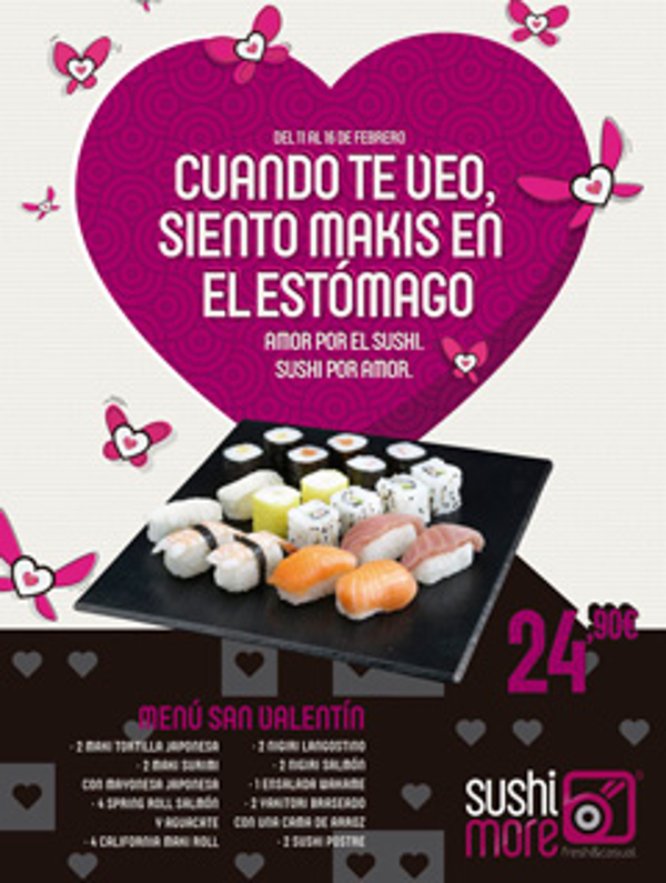 La franquicia Sushimore te invita a celebrar el Día de los Enamorados con sushi