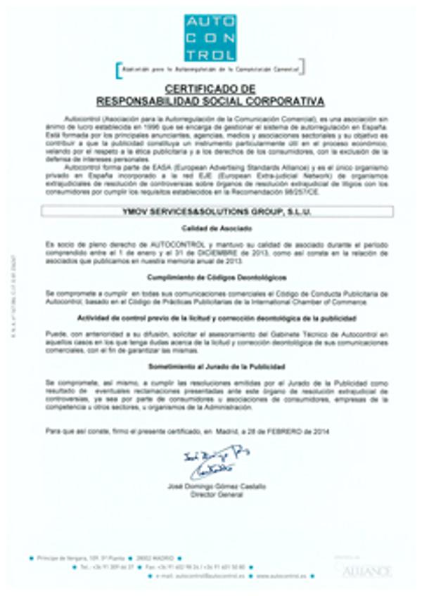 La franquicia YMOV Group obtiene el Certificado de RSC de Autocontrol