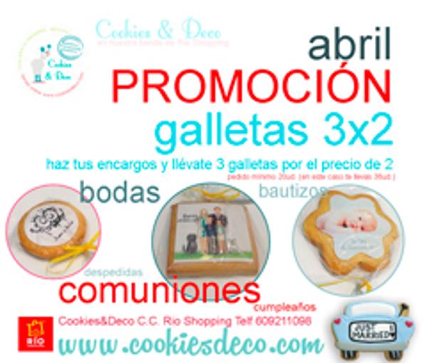 En abril 3 x 2 en galletas en las franquicias Cookies & Deco