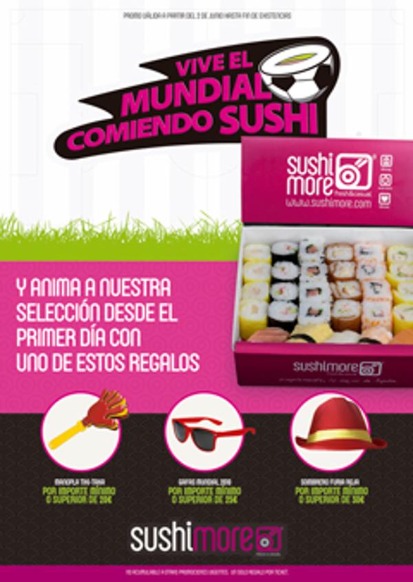 Las franquicias Sushimore celebran el Mundial con sushi y regalos para apoyar a la 'Roja'