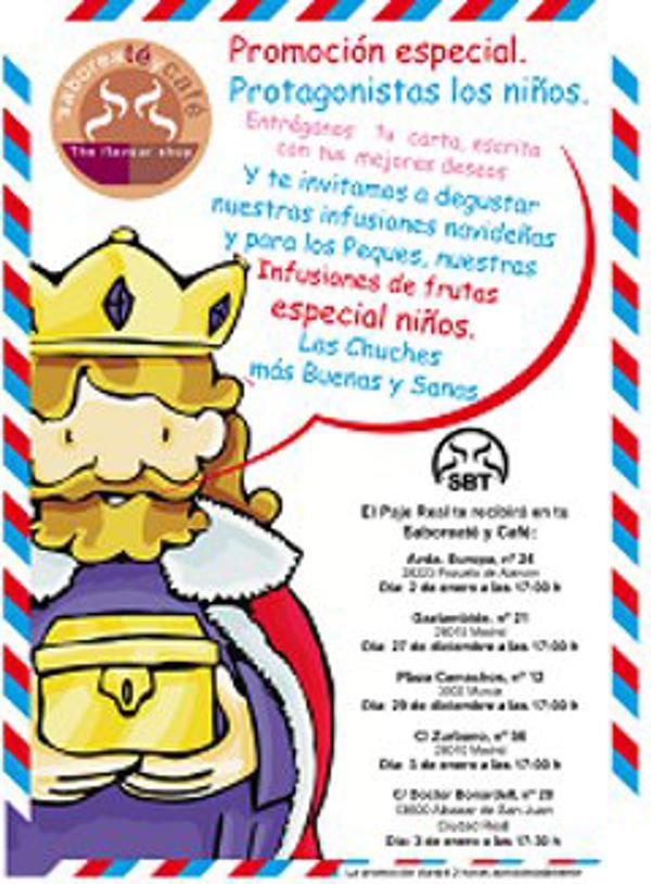 El Paje de los Reyes Magos recogerá las cartas de los niñ@s en la franquicia Saboreatéycafé