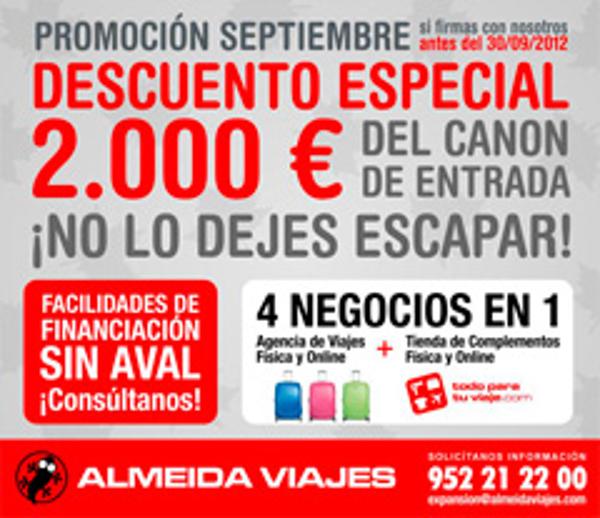 2000 � de descuento para los nuevos franquiciados de Almeida Viajes